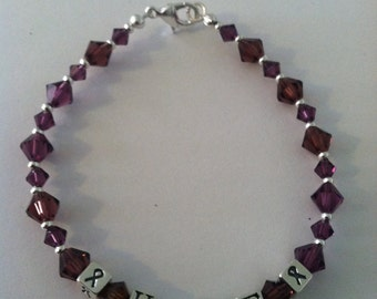 Purple Swarovski and Sterling Silver Hope Bracelet.