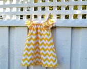 Toddler Girls Dress Peasant Dress with Flutter Sleeves Or Elastic sleeves in yellow and white chevron