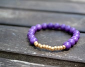 Oklahoma Relief - Purple Magnesite Stone Elastic Glimmer of Hope Bracelet with Gold Czech Seed Beads - Animal Rescue Humane Society Donation