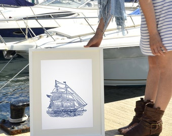 Old Ship 2 - Vintage Style A3 Plus sized poster - Antique ship illustration in navy blue SPP010
