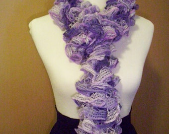 Knitted Ruffled Scarf Purple and Lavender