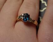 10k Blue Topaz & Diamond Ring size 5 1/4 Baby Blue Pretty Something Blue Bride Wedding Baby Boy Gift