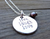 LIVE Laugh Love Silver Purple Freshwater Pearl Crystal Bead Necklace Pendant Wire Wrap Handmade Jewelry