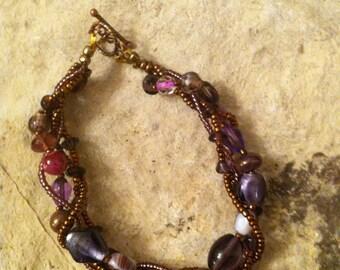 Purple & Brass Twists bracelet