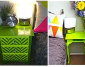 Green Reverse Chevron Nightstand Bedside Table Pair