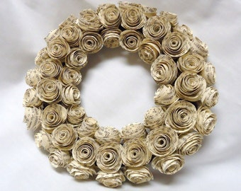 Paper rose wreath. Paper roses. upcycled paper roses. upcycled book page flowers. paper roses. vine wreath.