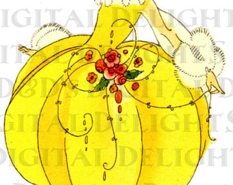 Deco Darling. Sunny Buttercup. Bright Yellow Flapper.  Full Bridge Tally. VINTAGE Illustration. DIGITAL Download.