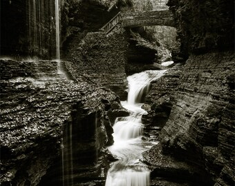 Waterfall Black and White, Watkins Glen photograph, vertical 11x14 print matted on white 16x20 mat. Rainbow Falls, New York, NY gorge canyon