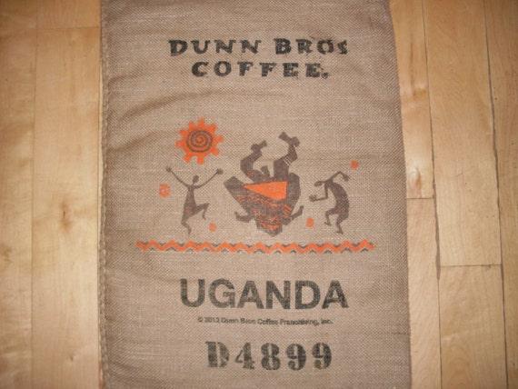 Burlap coffee bag dunn bros gunny sack from uganda for Burlap sack decor
