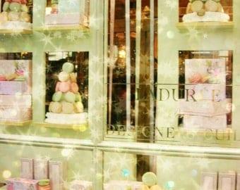 Pastel Paris Photo, Laduree Mint, Pink Art Photo Print, Baby Room, Nursery, French, Macaroons, Dessert, Sugar, Girls Room, France