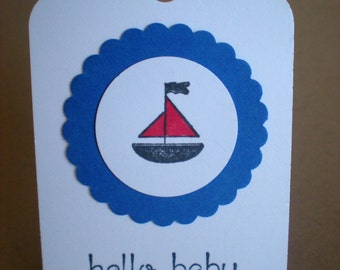 Sail Boat tags- hello baby- set of 10- baby shower tags - baby boy tags - nautical tags