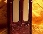Dollhouse Hansson Armoire - Doll House Wardrobe - Hand Carved Details & Mirrored Doors - 1/12th Scale