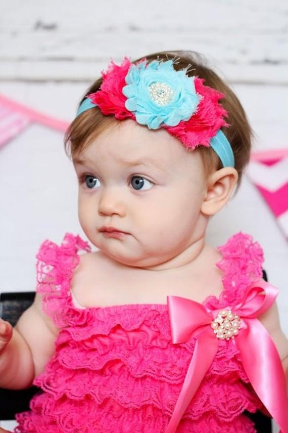 Aqua Amp Hot Pink Baby Headband Hair Bow Shabby Headband Baby