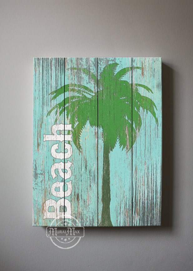 beach wall art vintage kids beach decor canvas art by muralmax. Black Bedroom Furniture Sets. Home Design Ideas