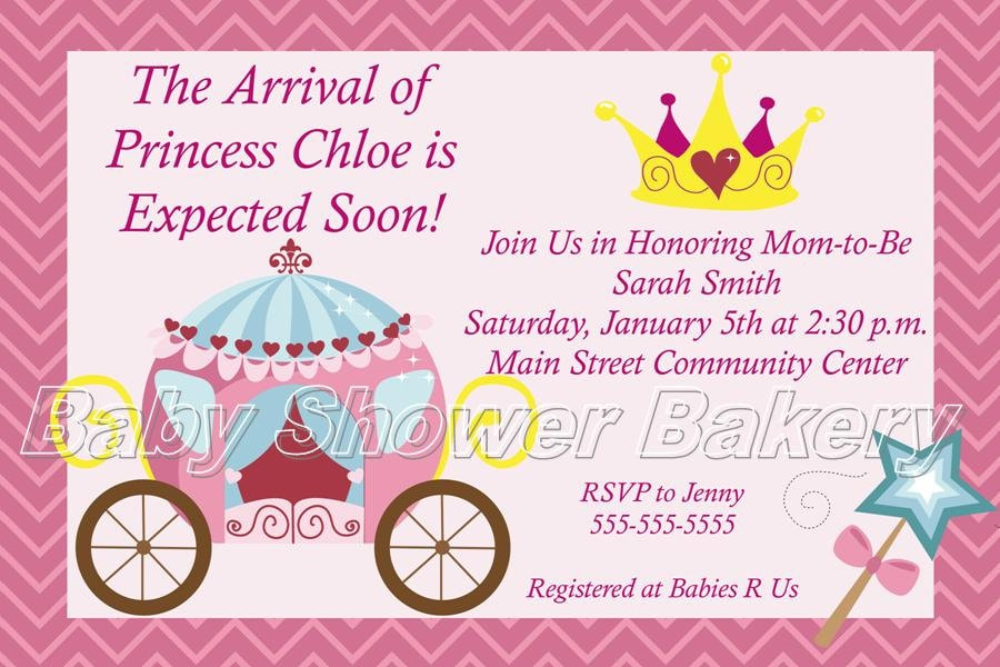 Fan image for free printable princess baby shower invitations