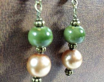 Steampunk Green, Amber and Bronze Dangle Earrings Victorian Boho Jewelry Gifts Under 10