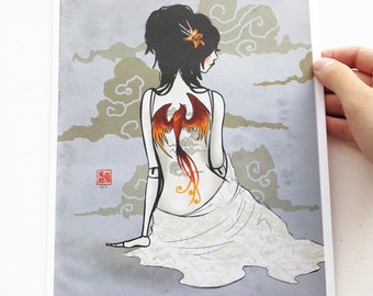 China doll art series - 8x10 fine art archival print - painting of a Chinese porcelain doll with red phoenix tattoo