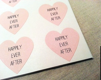 120 Happily Ever After Pastel PInk Heart Stickers / Wedding Envelope Seals / Personalized Labels / Wedding Supplies / Bridal Shower Supplies