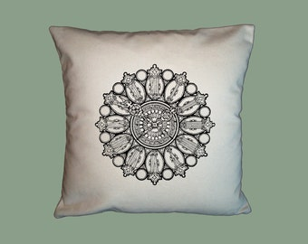 Vintage Ornate Clock Face Steampunk HANDMADE 16x16 Pillow Cover  -  Choice of Fabrics - image in ANY COLOR