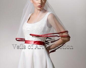 Designer Classic Bridal Elbow Length 2 Tier Veil Style VE179 Apple Red Trim