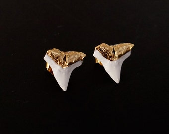 Large white enamel shark teeth studs