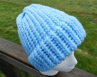 Blue Knit Hat, Winter Hat, Knit Hat, Loom Knit Hat, Blue Hat, Blue Knit Cap, Light Blue Hat, Blue Beanie,Light Blue Beanie, Warm Hat