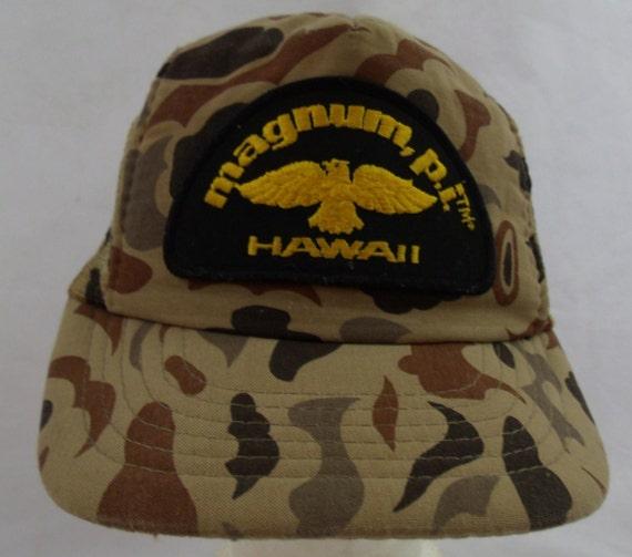 Vintage 80s 1980 Magnum PI Camo Snapback Mesh Truckers hat.