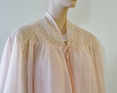 Reserved for Cammy - 50's Baby Pink Crystal Pleated Chiffon Lacy Bed Jacket size Small