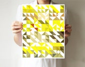 "Triangles print  8""x10"" or 11""x14"" - Art print - Geometric - Wall decor - Tangerine - Lemon - Citrus"