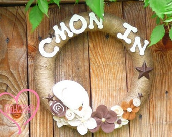 Country Yarn Wreath, C'mon In Welcome Cowboy Cowgirl Home Decor