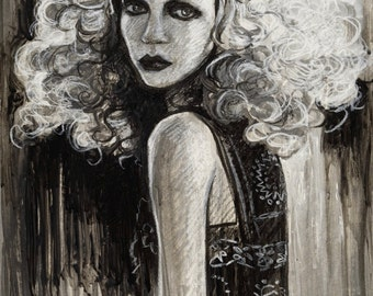 "ORIGINAL DRAWING Bohemian Beauty Original Boho Gypsy Portrait Painting 10.5x14"" Black and White Wall Decor"
