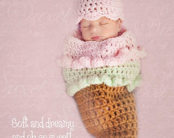 Ice Cream Cone Set Crochet Pattern -- This pattern includes newborn - 24 Month Sizes