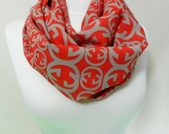 Red and Gray Colors Infinity scarf, Circle Scarf, Loop Scarf, Tube Scarf, Shawls, Spring - Fall - Winter - Summer fashion Sale