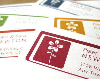 Daisy Flower Personalized Custom Address Labels, 60 Custom Stickers in 6 colors or Custom, Return Address Label Stickers