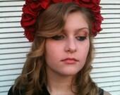 Red Floral Crown, Flower Headband