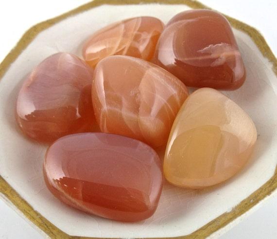 Moonstone Peach Moonstone Tumbled Peach by fallhillbeadandgem