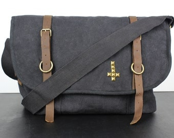 Pyramid Studded Canvas and Leather Messenger - Assorted Colors