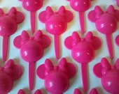 24 Hot Pink Minnie Mouse ears cupcake pick or cake topper, fun kids Minnie's bowtique birthday party, Mickey clubhouse Disney