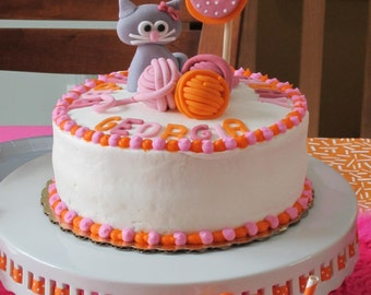 Cat Kitty Fondant cake topper kit- 1 kitty with bow,  3 balls of yarn, 1 qty  two tone number, Happy Birthday Letters
