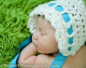 Newborn Baby Bonnet with Ribbon Vintage Knit Crochet Gift