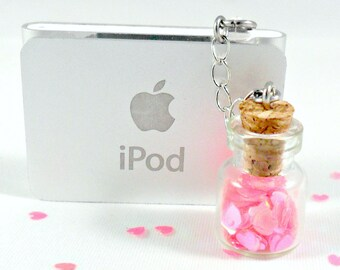 Fairy Glitter Hearts In A Bottle Phone Charm, Captive Hearts, Dust Plug or Cell Phone Strap, Cute, Kawaii :D