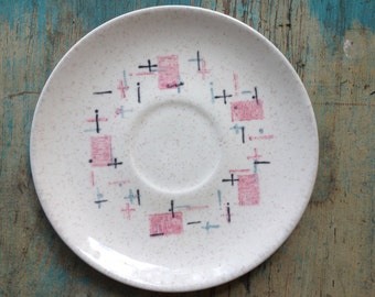 Vintage Dishes, Pink Turquoise Vernon Ware Tickled Pink Saucers, Set of 6 Vintage Retro Saucers from VernonWare California, Vintage Plate