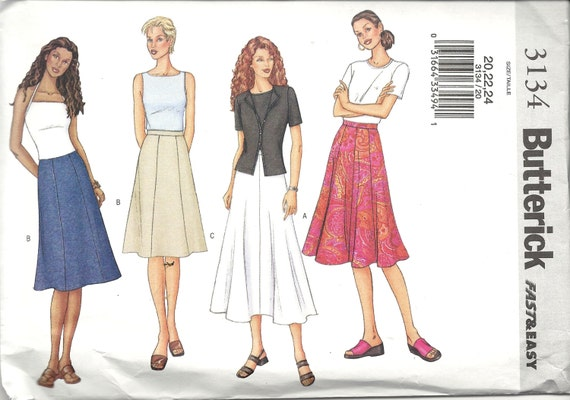 a line or flared skirt pattern by butterick fast by