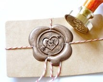 B20 Wax Seal Stamp Personalized Wedding Custom Initials with Heart & Arrow
