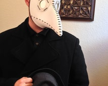 White Plague Doctor Mask with Mirror Lenses Made to Order