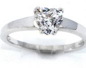 1 Carat Genuine Zirconia Heart Ring .925 Sterling Silver Rhodium Finish