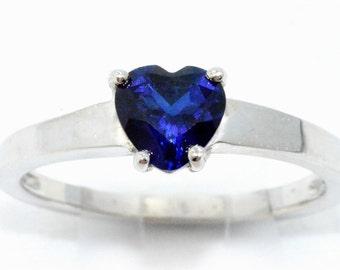 1 Carat Blue Sapphire Heart Ring .925 Sterling Silver Rhodium Finish