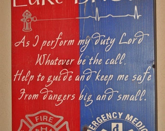 Firefighter/EMS Hybrid Wall Art, Firefighter/EMS Decor, Distressed Wall Decor, Custom Wood Sign - As I Perform My Duty - (smaller version)