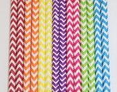 50  Chevron Rainbow paper straws wedding birthday shower     Bonus DIY Flags