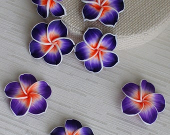 EXTRA LARGE Purple Flower Polymer Clay Beads - 3pcs